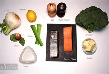 Broccoli Puree with Pan Fried Salmon