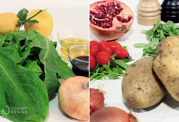 Hindbeh Bi Zeit (Dandelion Leaves in Olive Oil) and Potato Salad.