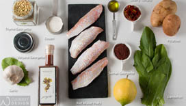 Try the Pan-fried Red Mullet with Thyme Flavored Crumbled Potatoes that is rich in Mediterranean flavors and color