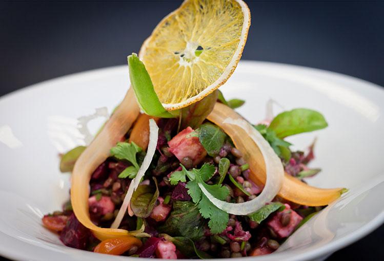 Green Lentil Salad, Beet & Rhubarb Vinaigrette